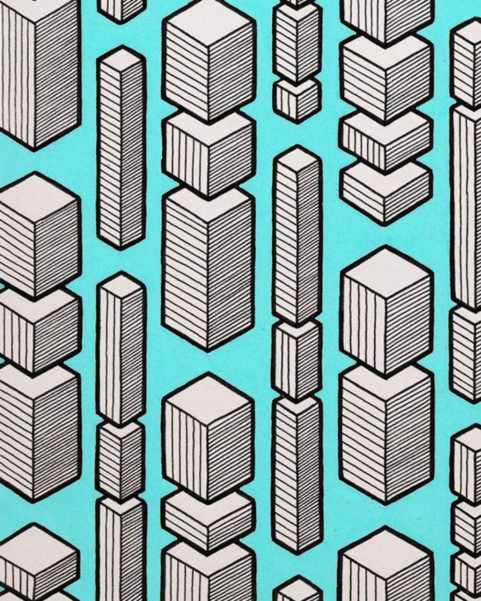 cubic rain pattern drawing