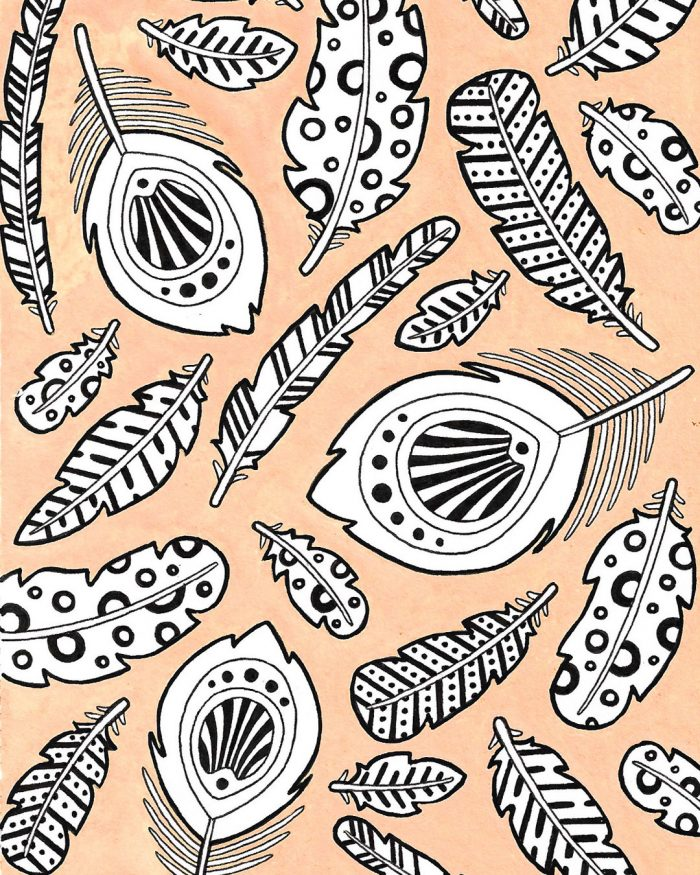 feathers pattern drawing