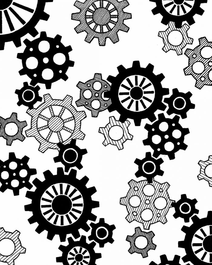 gears pattern drawing