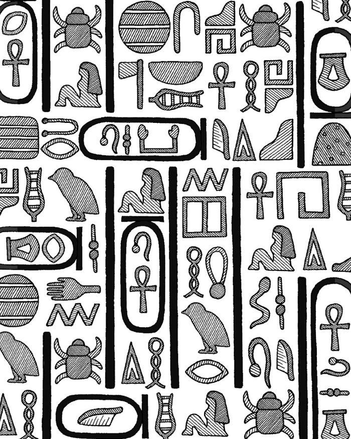 hieroglyphs pattern drawing