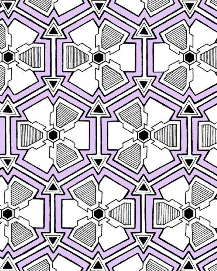 steampunk flowers pattern drawing