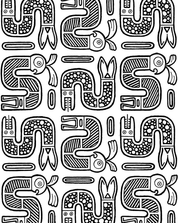macaw pattern drawing