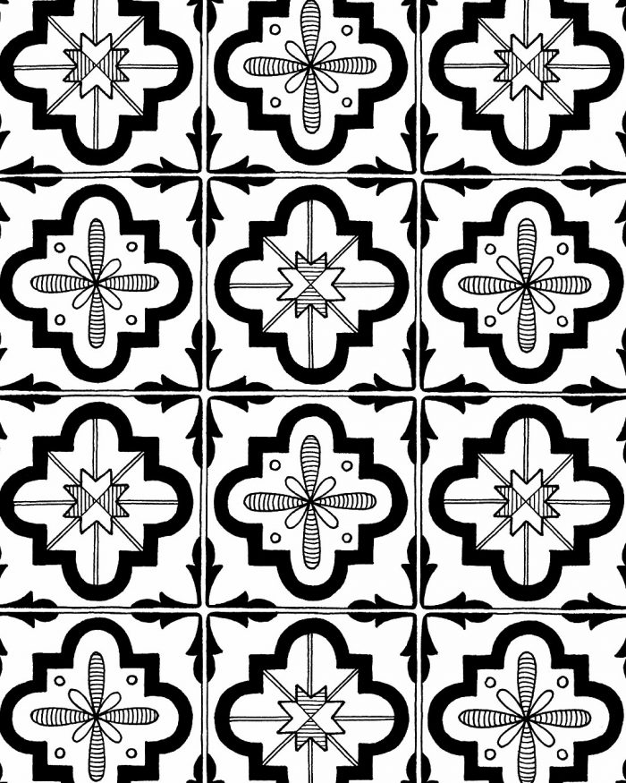 portuguese tiles pattern drawing