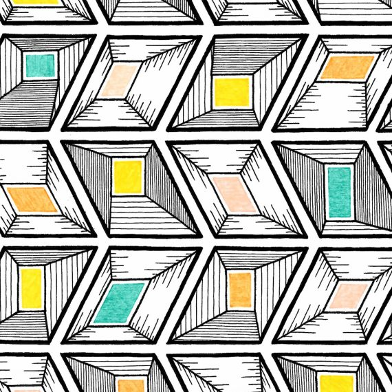 rhombus jewels pattern drawing