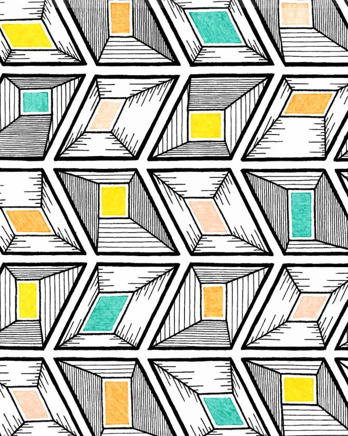 rhombus jewels pattern drawing