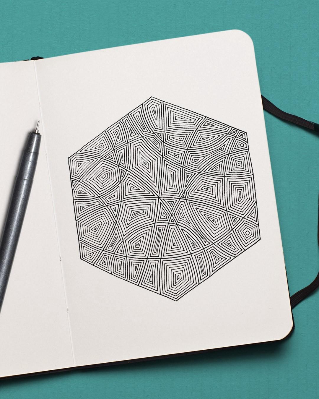 geometric hexagon zen doodle