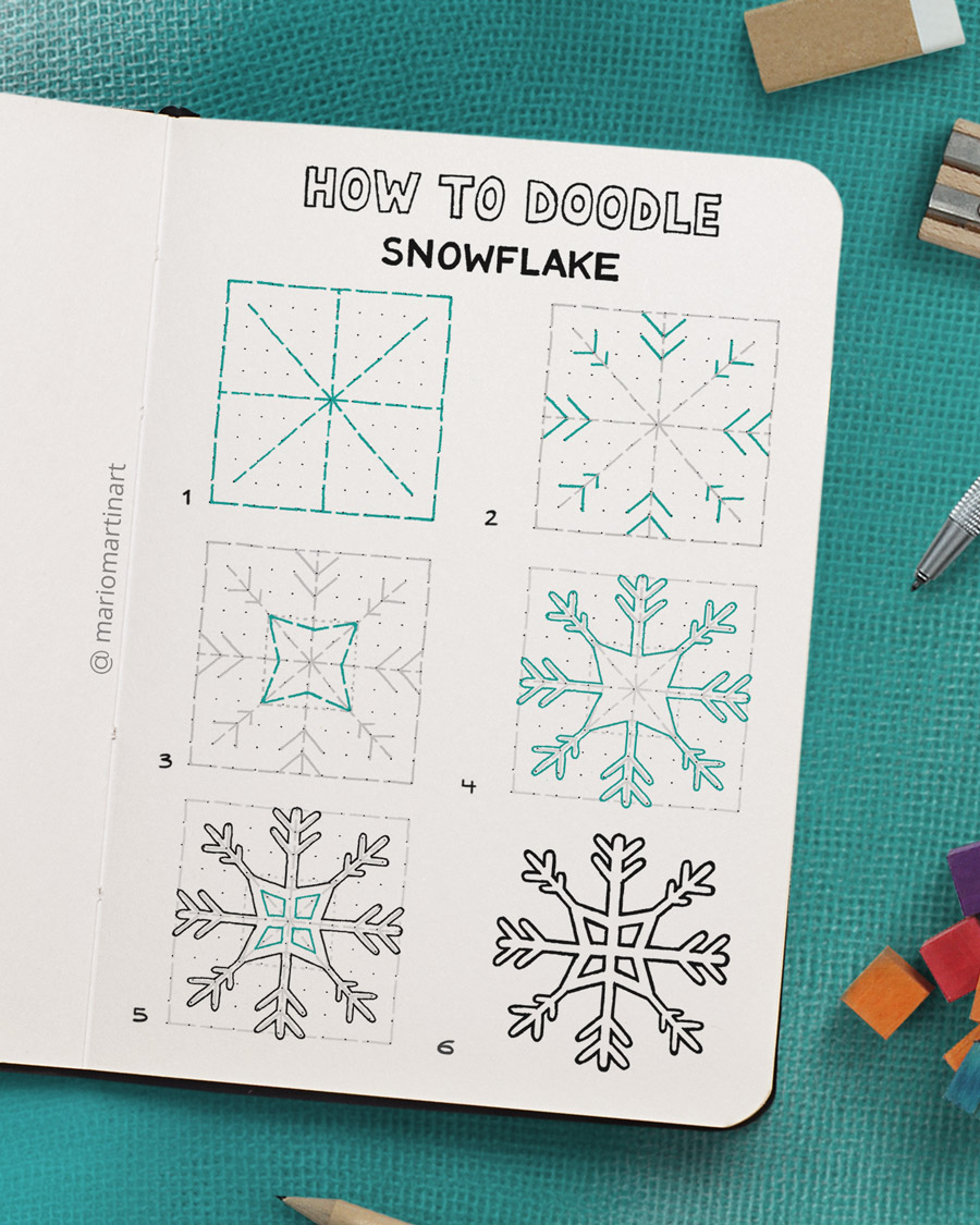 how to doodle a snowflake