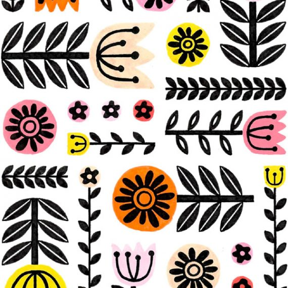 folk art flowers pattern