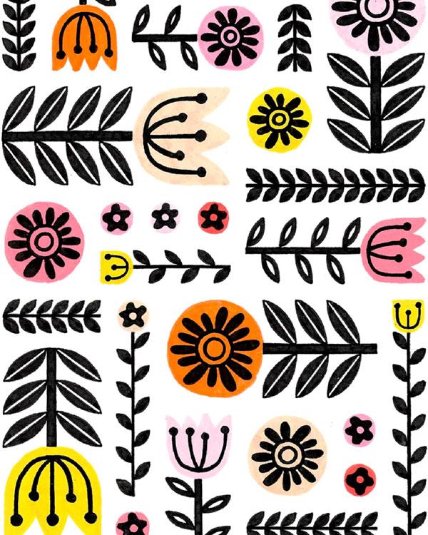 folk art flowers pattern